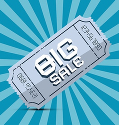 Retro Big Sale Paper Ticket on Blue Background vector