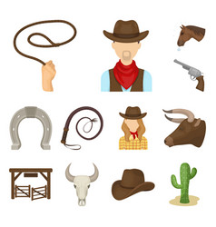 rodeo competition cartoon icons in set collection vector image