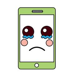 sad cellphone kawaii icon image vector image