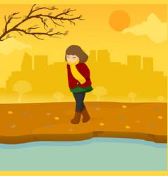 Sad lonely girl autumn season scene graphic design vector