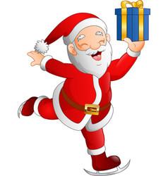 santa claus skier holding a gift box vector image