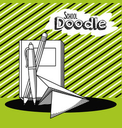 school doodle cartoon vector image