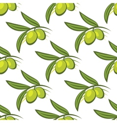 Seamless pattern of fresh green olives on a twig vector image