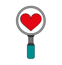Search heart flat vector