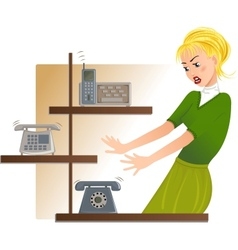 Secretary is under stress with lot of telephone vector image