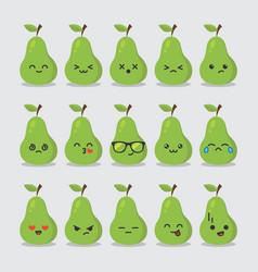 Set cute fruit smiley avocado emoticons image vector