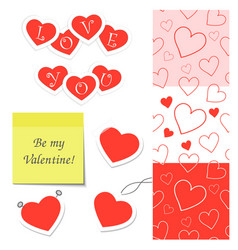 set elements for valentines day vector image