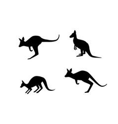 set kangaroo in silhouette style art vector image