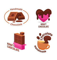 Set kraft handmade chocolate candies and drink vector