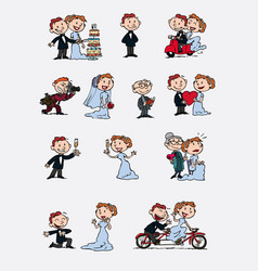 Set of characters bride and groom vector