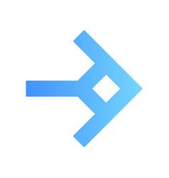 Shaped blue arrow flat design long shadow color vector