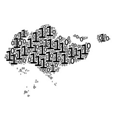 singapore map composition of binary digits vector image