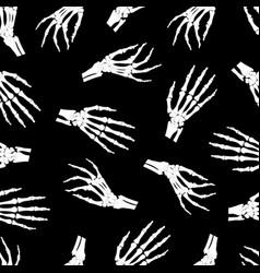 skeleton hand seamless pattern on black vector image