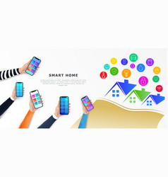 smart home control infographics horizontal banner vector image