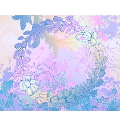 Soft blue grungy background with floral frame vector image