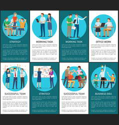 Strategy and working task for business idea set vector