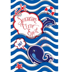 summer card striped 4 380 vector image vector image