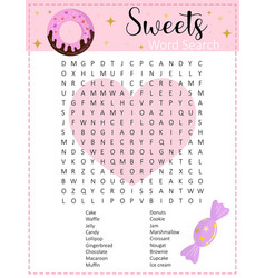Sweets word search puzzle vector