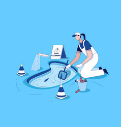 Swimming pool cleaning with cleaning equipment vector