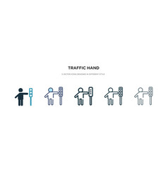 Traffic hand icon in different style two colored vector