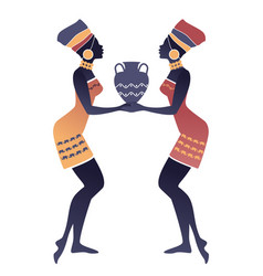 Tribal zodiac gemini two women with turbans and vector