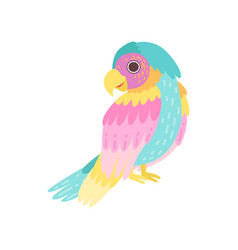 tropical parrot bird with colored plumage vector image