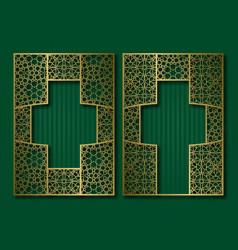 Vintage frames in oriental style golden book vector