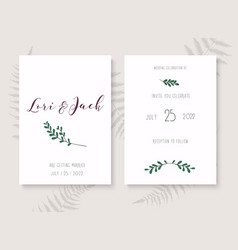wedding invitation cards with leafs save date vector image