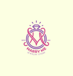 Wedding ring monogram m vector