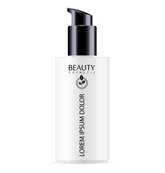White cosmetic bottle with black pump dispenser vector