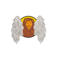 winged lion head circle drawing vector image