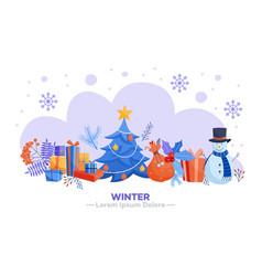 winter holidays horizontal banner - various vector image