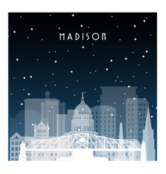 Winter night in madison night city in flat style vector