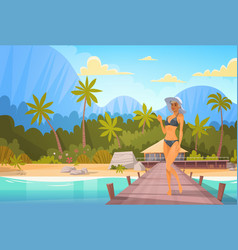 Woman in bikini on beach over bungalow house sexy vector