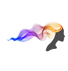 womans profile with long beautiful hair vector image