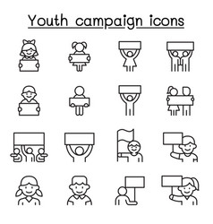 Youth campaign related line icons contains such vector