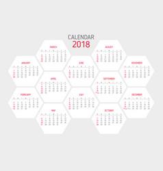 calendar 2018 template hexagon shape vector image
