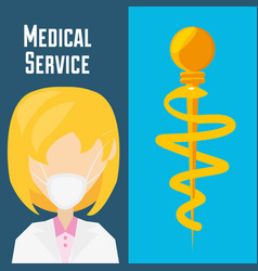 doctor with mask and medicine symbol vector image