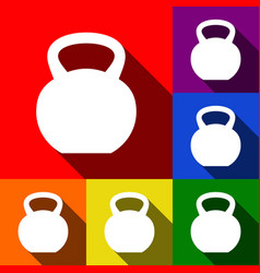 fitness dumbbell sign set of icons with vector image