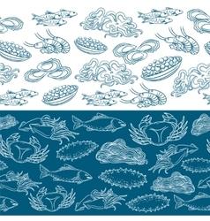 Marine life seamless borders vector image vector image