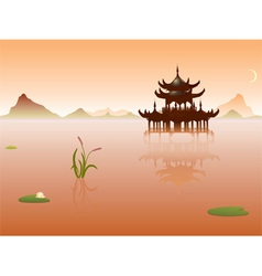 peaceful lake vector image