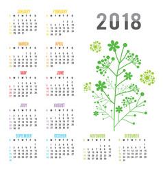 planner calendar new year 2018 flower vector image vector image
