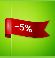 red ribbon with text five percent for discount vector image