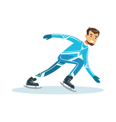 short track speed male skater athlete character in vector image