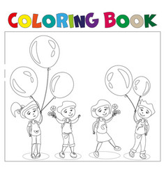 Four kids with ballons vector