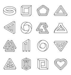 impossible figures line art collection vector image vector image