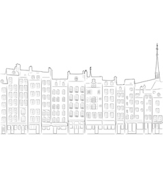 Outline of cityscape Honfleur vector image vector image