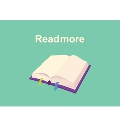 rtead more text sign poster with book and text on vector image vector image