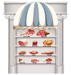 Shelves full of different kinds of meat vector image