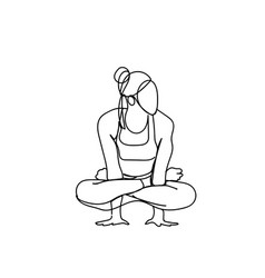 sketch woman in joga pose silhouette on white vector image